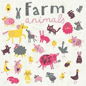 Funny farm animals in vector set. Sheep, horse, dog, cat, rabbit, goose, chicken and others in cute