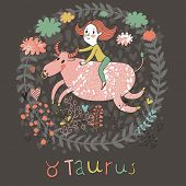 Cute zodiac sign - Taurus. Vector illustration. Little girl riding on the big pink calf with clouds