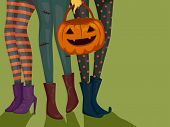 Halloween Illustration of Girls Wearing Halloween Costumes and Carrying a Trick or Treat Bag