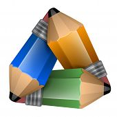 Abstract element consisting of a triangular shape colored pencils. For design projects