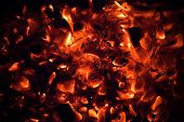 Red Burning Coals Dark Abstract Background