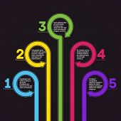 Infographics template. Five options vector.