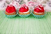 Mini Tarts With Cream Filling And Berry Glaze