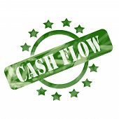 Green Weathered Cash Flow Stamp Circle And Stars Design