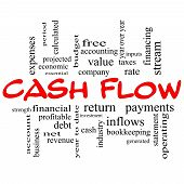 Cash Flow Word Cloud Concept In Red Caps
