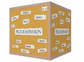 Procrastination 3D Cube Corkboard Word Concept