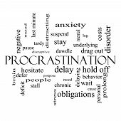 Procrastination Word Cloud Concept In Black And White
