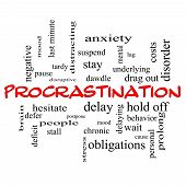 Procrastination Word Cloud Concept In Red Caps