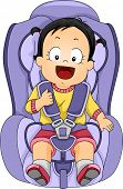 stock photo of seatbelt  - Illustration of a Baby Girl Strapped to a Car Seat - JPG