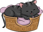 Illustration of a Cute Cat Lying Contentedly on its Bed