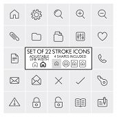 Stroke design icons set 1 / General + files + mail + etc. / Adjustable line width + 4 button shapes