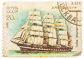 Stamp Printed In Former Russia Shows A Three-masted Barque Krusenstern