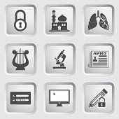 Icons on the buttons for Web Design. Set 10
