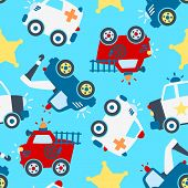 stock photo of sherif  - Seamless pattern of different rescue vehicles on light blue background - JPG