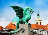 stock photo of yugoslavia  - Close shot of the Dragon statue in Ljubljana on famous bridge - JPG
