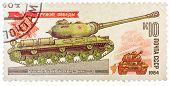 Stamp Printed In The Ussr Shows A Soviet Wwii Era Joseph Stalin Is-2 Tank