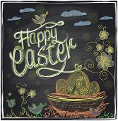 Easter hand drawn graphic on a chalkboard. Eps10.