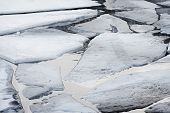 image of shaky  - Cracked ice on Gulf of Finland in Kronstadt - JPG