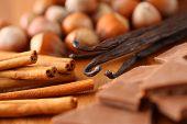 Hazelnuts, Cinnamon Sticks, Vanilla Beans, and Chocolate