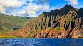 stock photo of na  - Amazing rugged mountains along the Na Pali coast of Kauai Hawaii Islands - JPG