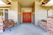 Entrance Porch With Antique Bench