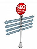 Seo Concept, Internet Technology. 3D Signposts.