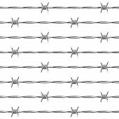 picture of barbed wire fence  - The vector illustration of a seamless barbed wire - JPG
