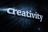The word creativity against futuristic black and blue background