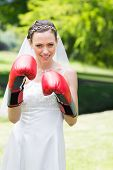 Portrait of young bride wearing boxing gloves in garden