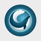 Vector arctic symbol design. Polar bear and whale in circle.