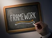 Hand writing the word framework on black chalkboard