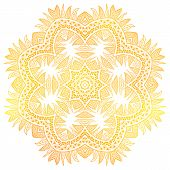 Gold flower over white background