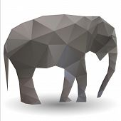 stock photo of calf  - Vector illustration of an triangle Elephant calf - JPG