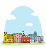 Panorama With Cute Town. Seamless Vector Pattern.