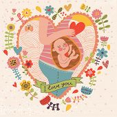foto of womb  - Pregnancy concept card in cartoon style - JPG