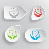 love in hands. White flat vector buttons on gray background.