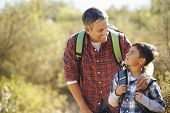 stock photo of bonding  - Father And Son Hiking In Countryside Wearing Backpacks - JPG
