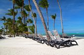 Chaise Longues On Caribbean Beach