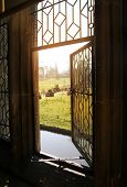 HEVER CASTLE AND GARDENS, KENT, UK - MARCH 10, 2014: view form Tudor house