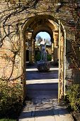 HEVER CASTLE AND GARDENS, KENT, UK - MARCH 10, 2014: decorative gallery and sculpture