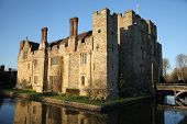 HEVER CASTLE AND GARDENS, KENT,  UK - MARCH 10, 2014: 13th century castle with Tudor manor house and