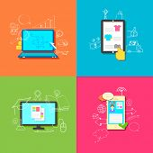 illustration of flat style online education, retail, business and communication