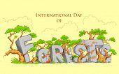 illustration of International Day of Forest with green tree