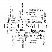 picture of e coli  - Food Safety Word Cloud Concept in black and white with great terms such as hazards e coli cooking and more - JPG