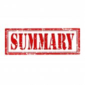 foto of summary  - Grunge rubber stamp with word Summary - JPG