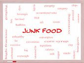 stock photo of high calorie foods  - Junk Food Word Cloud Concept on a Whiteboard with great terms such as chip snacks calories and more - JPG