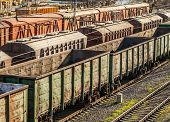 Trains in a freight yard