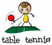 pic of stickman  - Illustration of a stickman playing table tennis on a white background - JPG