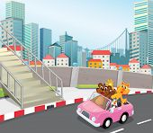 Illustration of a pink vehicle with animals running at the city