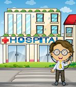 Illustration of a doctor in front of the hospital